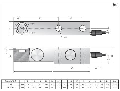 SBS-500lb称重传感器尺寸图