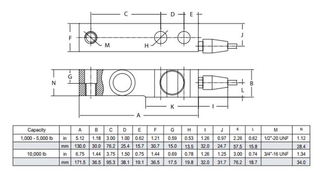 称重传感器SBSB-250kg产品尺寸