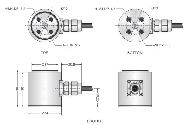Transcell CRS-200kg称重传感器尺寸图