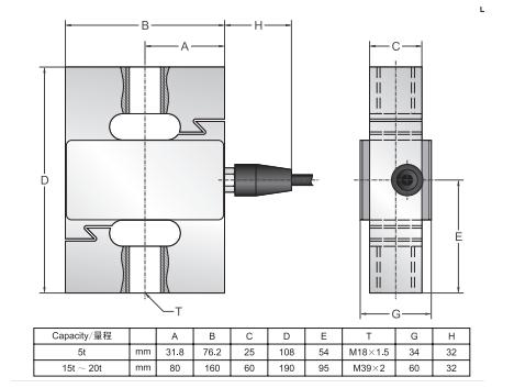 TranscellBSSD-20T称重传感器尺寸图: