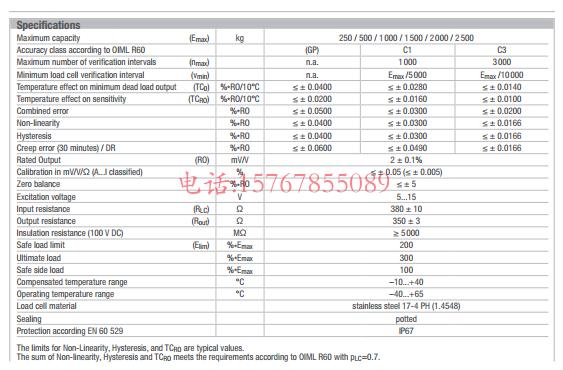 富林泰克SB9-250Kg-C3产品参数图