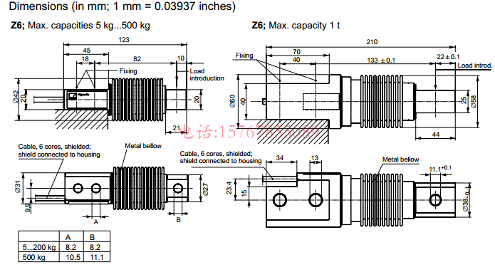Z6FC3/500Kg产品尺寸图