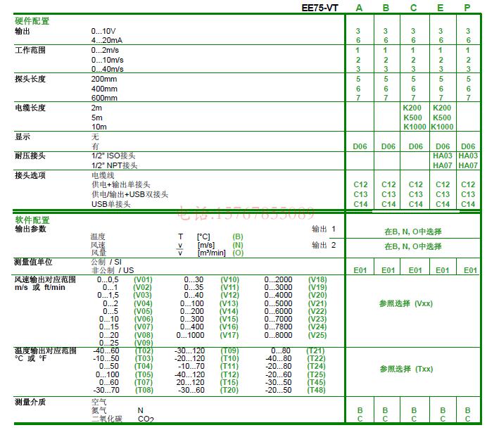 奥地利E+E EE75风速变送器选型说明