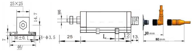 KDW-R2/R5系列位移传感器电子尺尺寸图