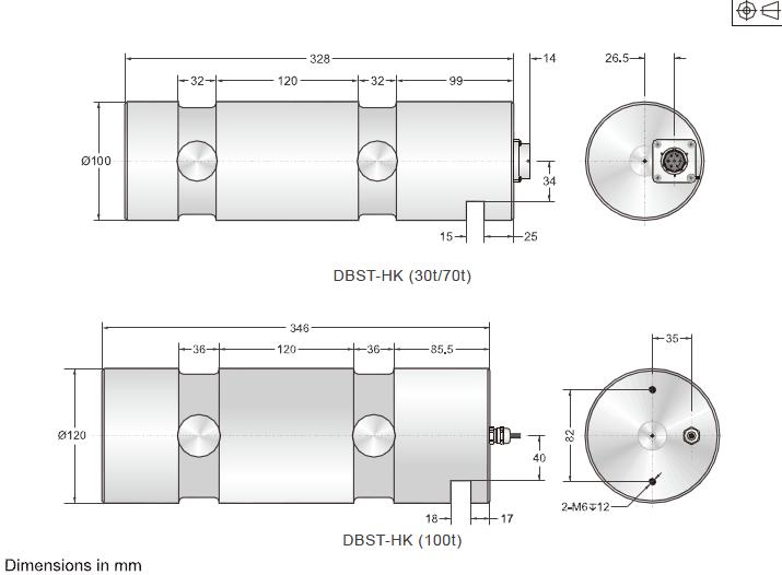 DBST-HK双剪切梁传感器安装尺寸图