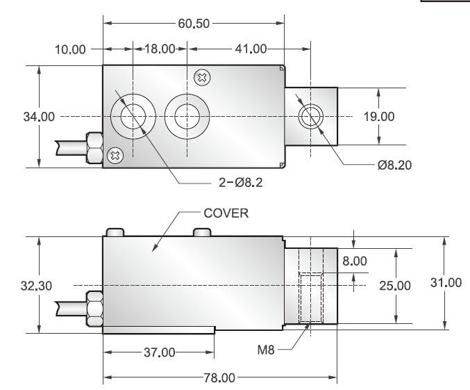 TSB-150lb,TSB-250lb悬臂梁传感器外观安装尺存图