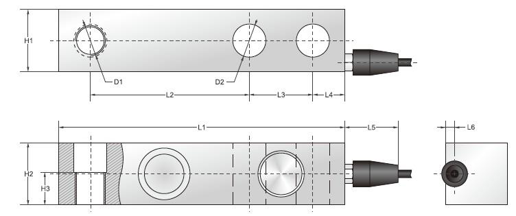 SBS-ESH系列悬臂梁传感器安装尺寸图: