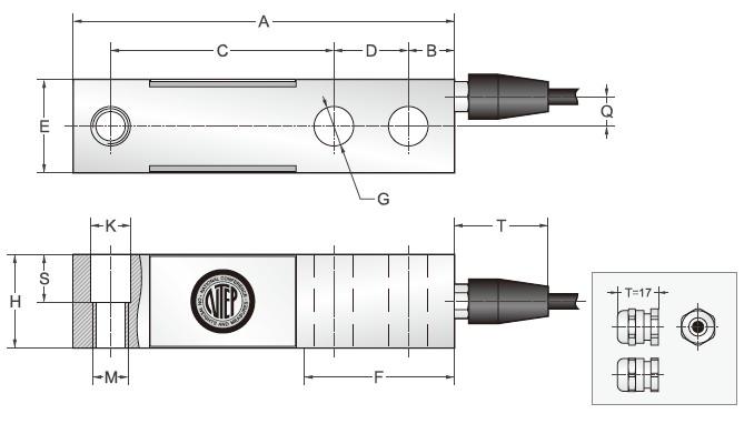 SBS悬臂梁传感器外观安装尺存图