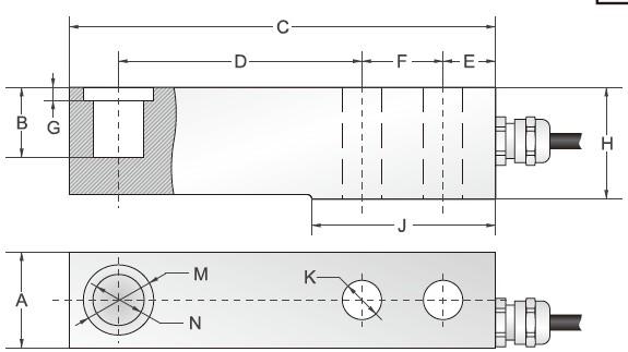 SBSZ悬臂梁传感器-SBSZ-10000kg安装尺寸图