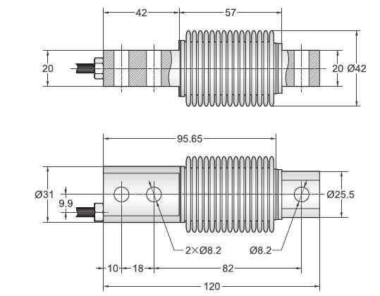 BSH-10kg悬臂梁称重传感器美国Transcell传力BSH系列安装尺寸图