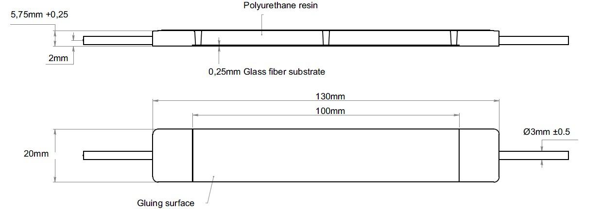 FS62CSS复合应变传感器安装外观尺寸图