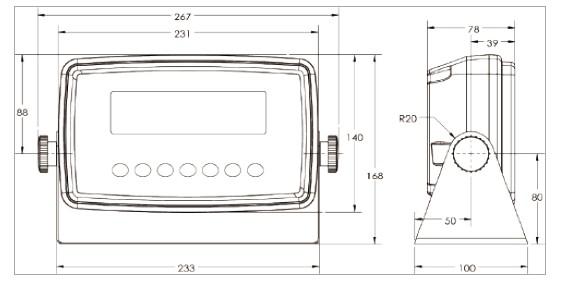 TI-700K称重防水仪表安装尺寸图