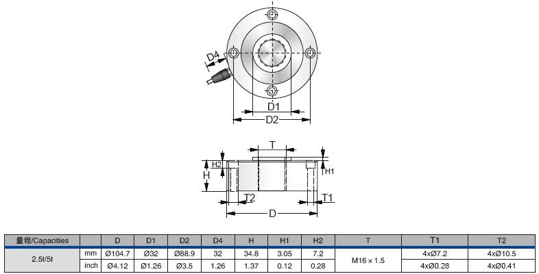 PWCD轮辐式称重传感器外观安装尺寸图