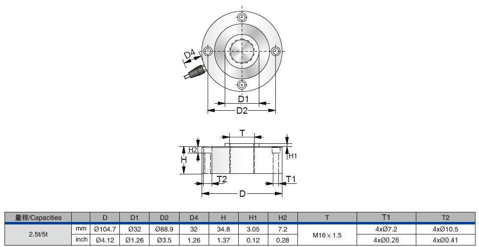 PTST-50t,PTST-100t轮辐式称重传感器外观安装尺寸图