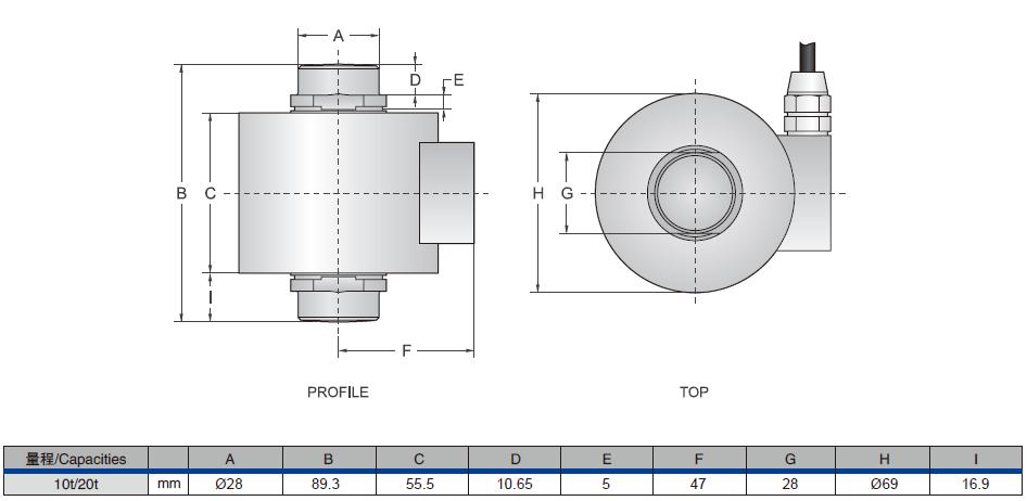 CD系列柱式称重传感器安装尺寸图