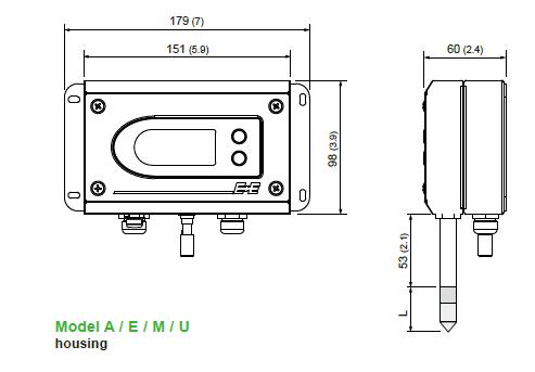 EE300Ex 型温湿度变送器外观尺寸图