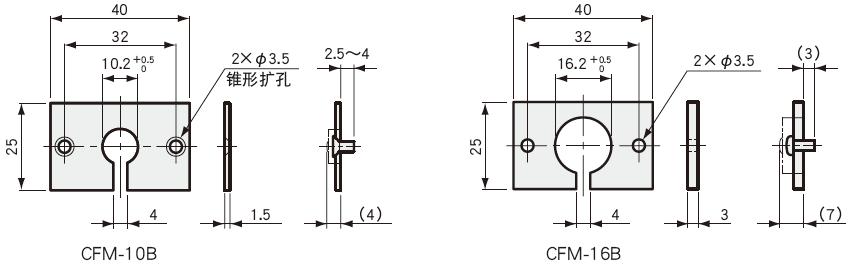 安装台座 CFM-B外观尺寸图