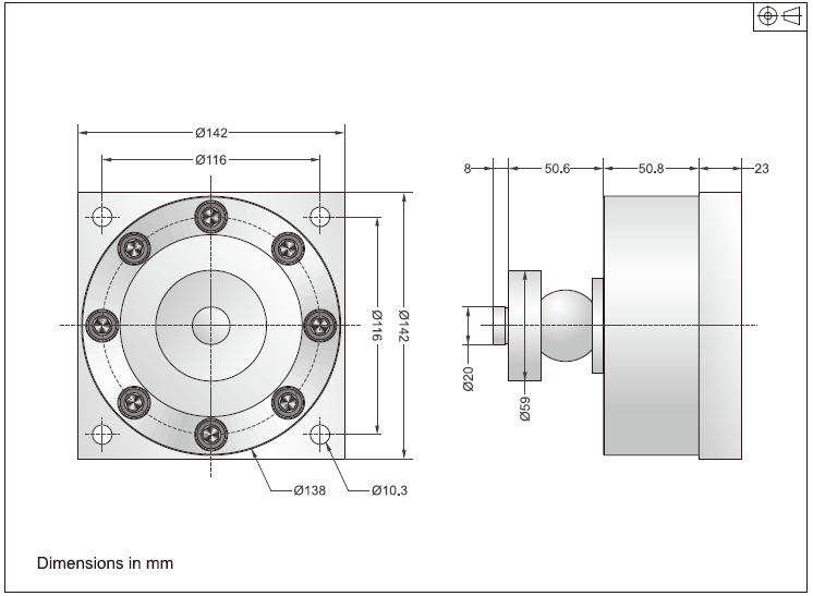 DBSL-SH称重模块安装尺寸图