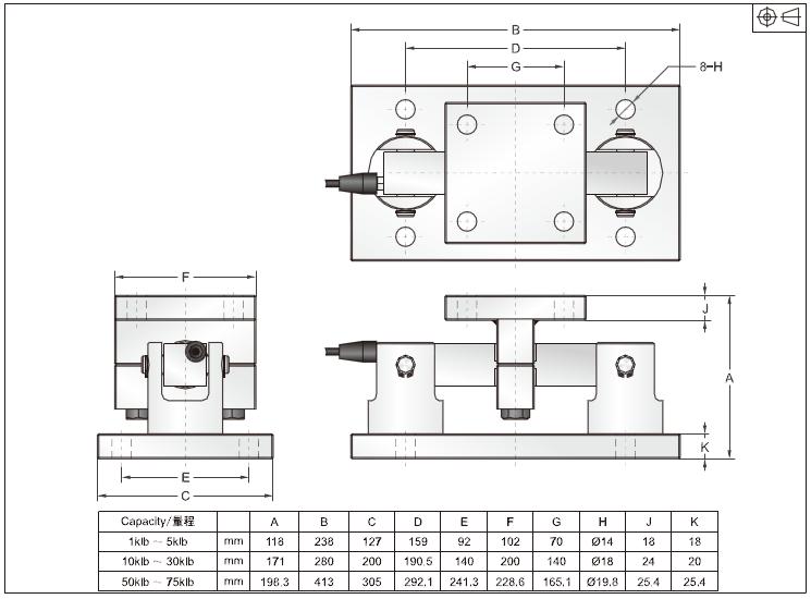 DBS称重模块 合金钢结构DBS-2klb称重模块安装尺寸图