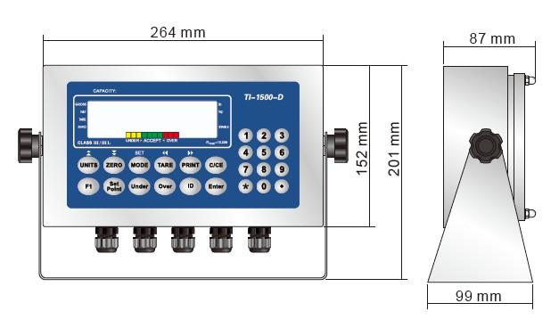 TI-1500-D称重仪表产品尺寸Dimensions