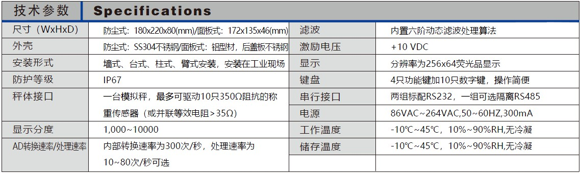 Specification 技术参数