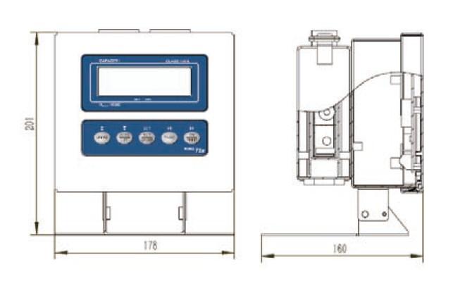 T5x本安防爆称重终端-T5x防爆仪表产品尺寸Dimensions