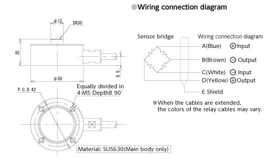 VLC-E344称重传感器外形尺寸(单位:mm)