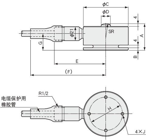 LC-V载荷称重传感器外形尺寸图