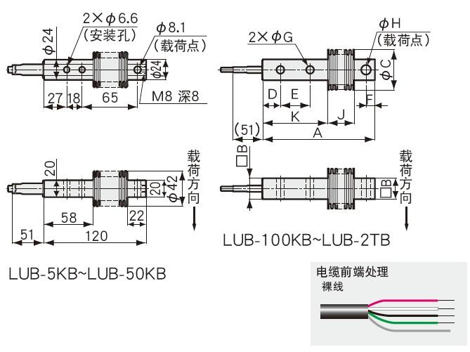 LUB-B称重传感器外形安装尺寸图