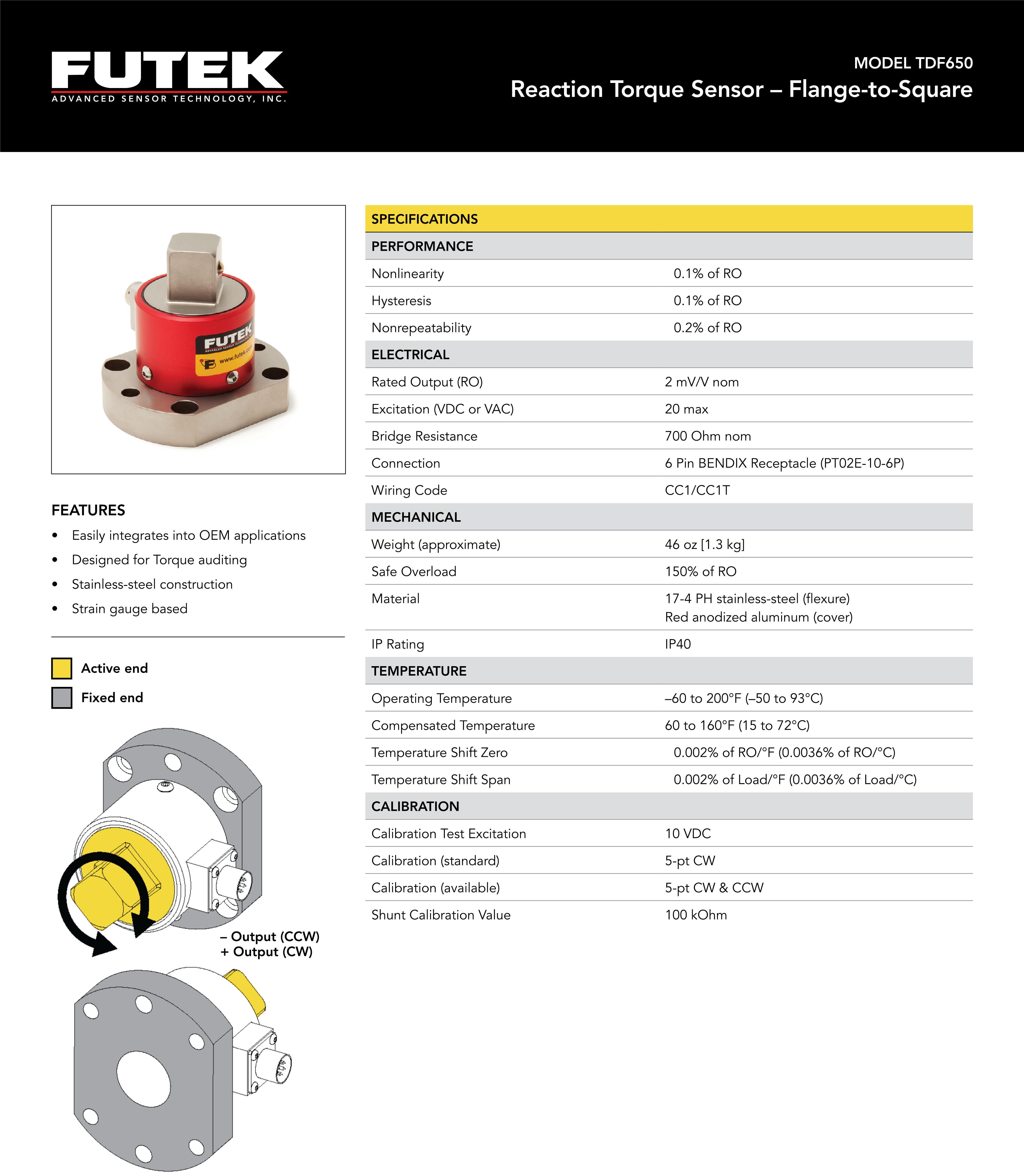 TDF650静态扭矩传感器-美国Futek