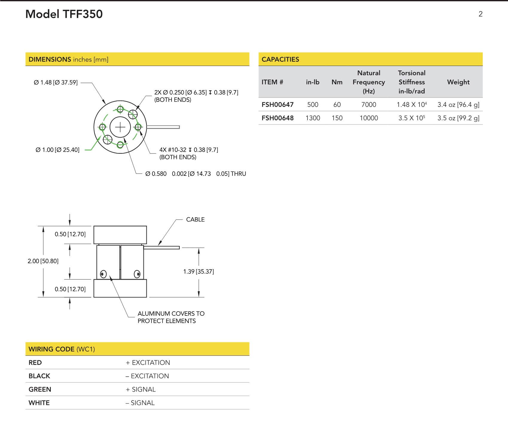 TFF350 OEM静态扭矩传感器