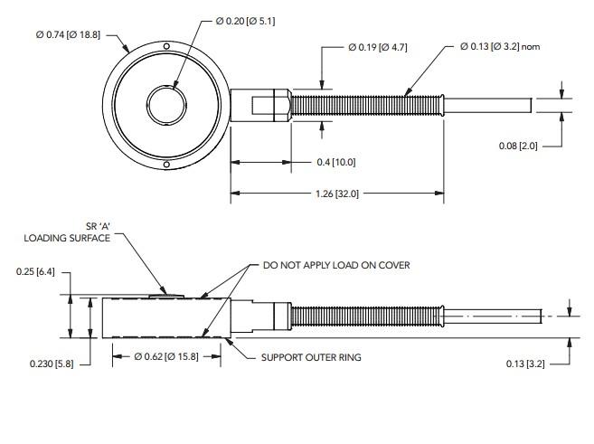 LLB300超微型按钮测力传感器-量程:4448 N