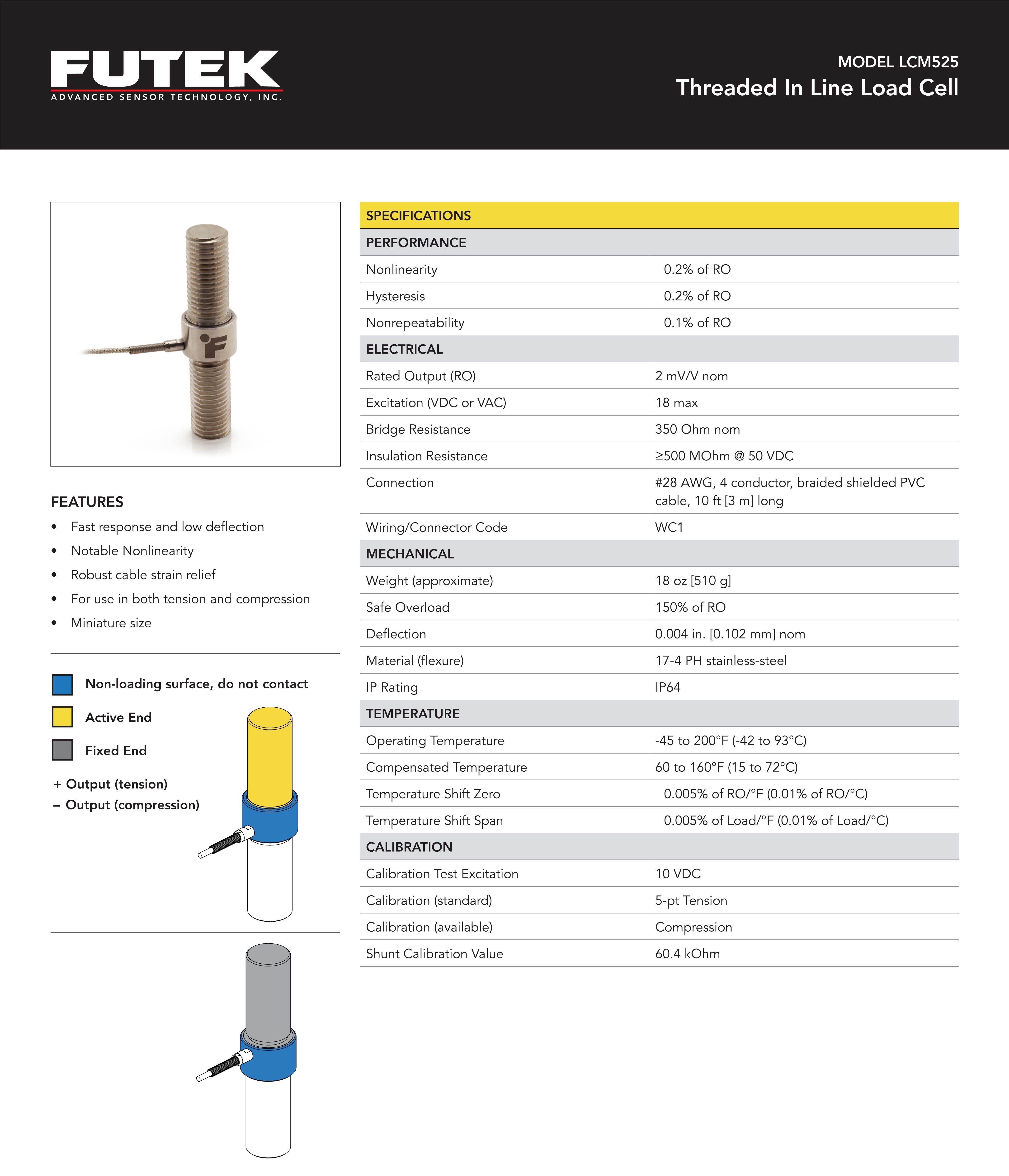 LCM525大量拉压力传感器_LCM525轴向拉压型应变式力传感器_美国FUTEK