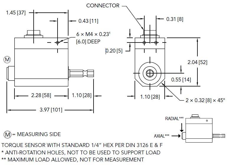 六角头驱动TRH605扭矩传感器外观尺寸图