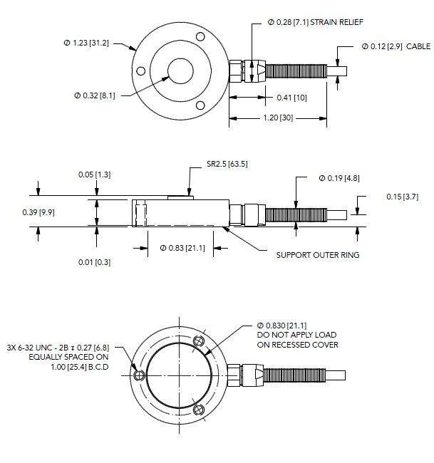 LLB400按钮式测力传感器安装尺寸图