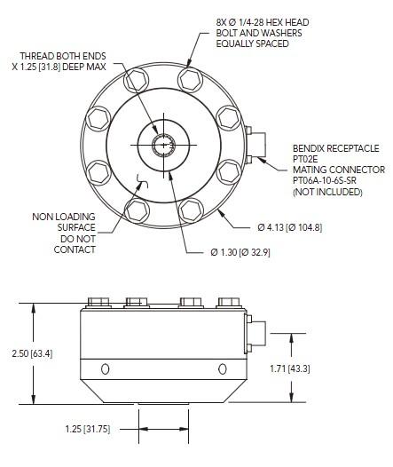 LCF456应变式力传感器安装尺寸图