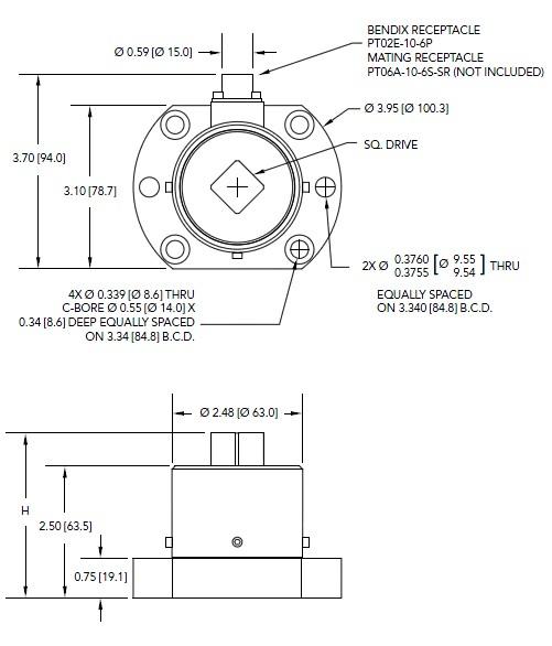 TDF600扭矩传感器 静态(法兰对四方头安装)