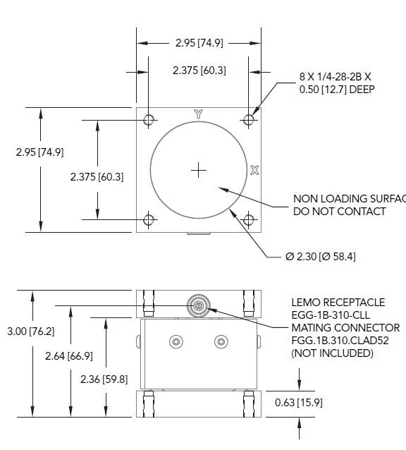 """MTA400三轴力传感器外观安装尺寸图"""""""""""