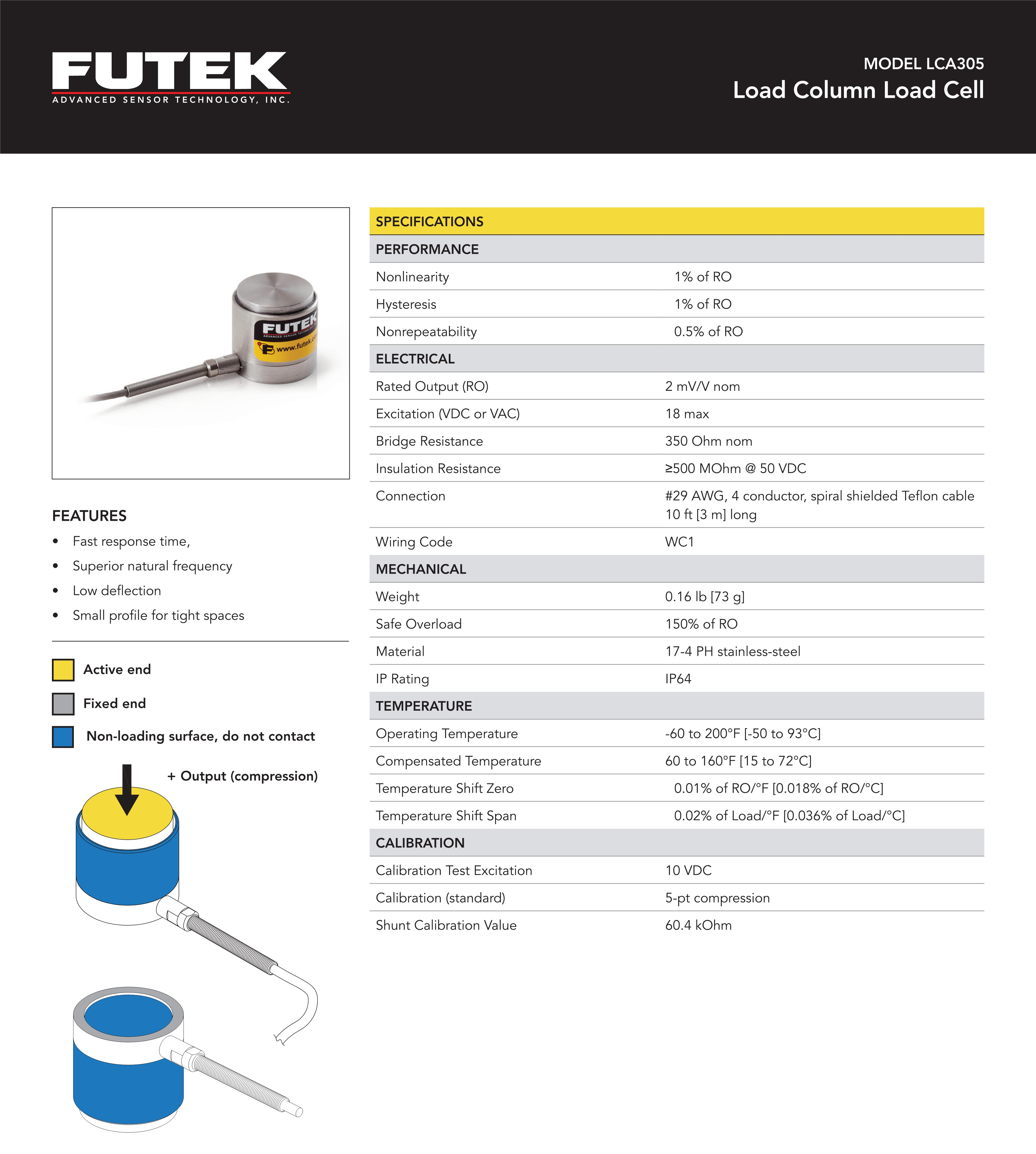 LCA305微型圆柱式力传感器