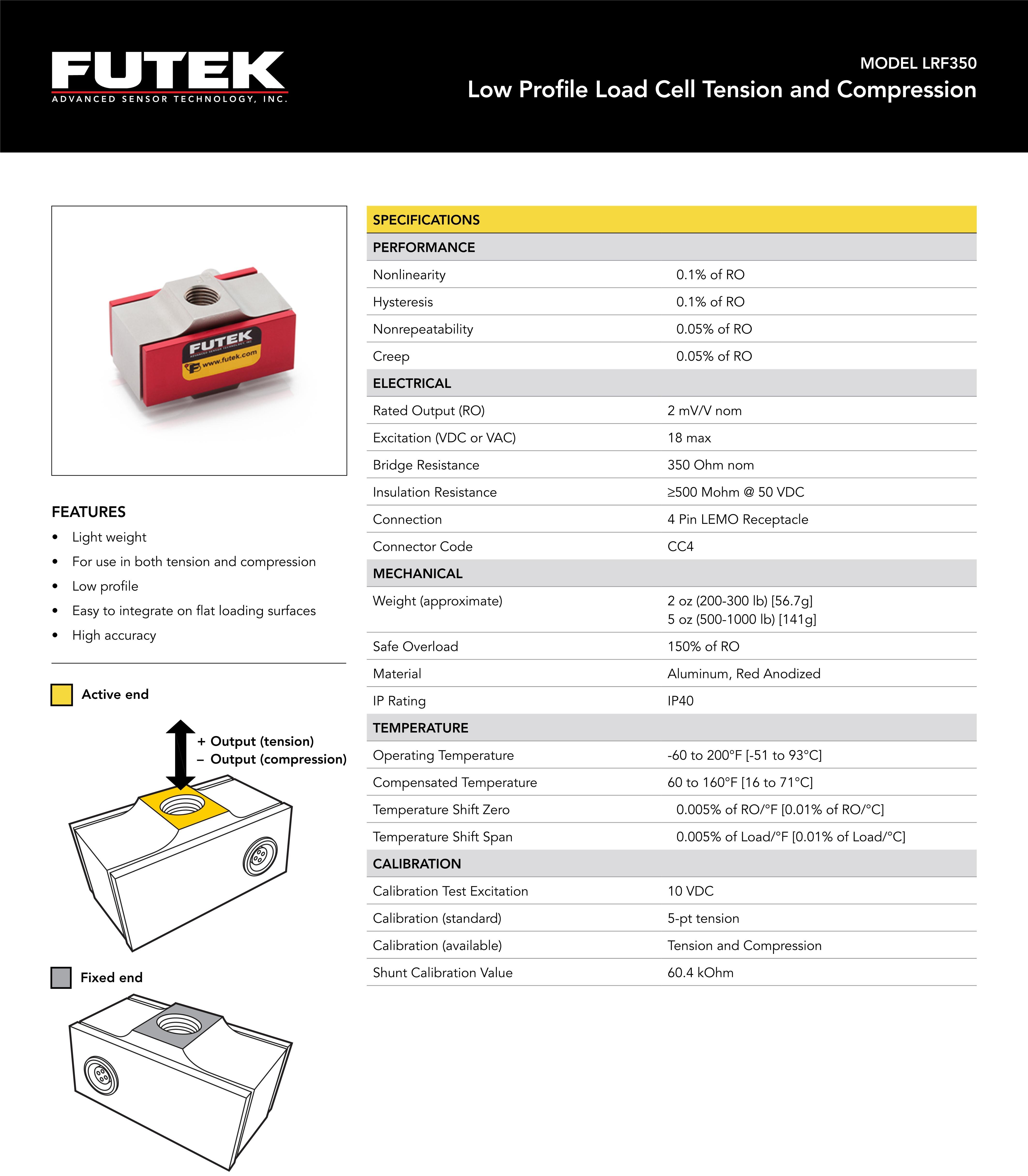 LRF350超薄型轴向拉压力传感器