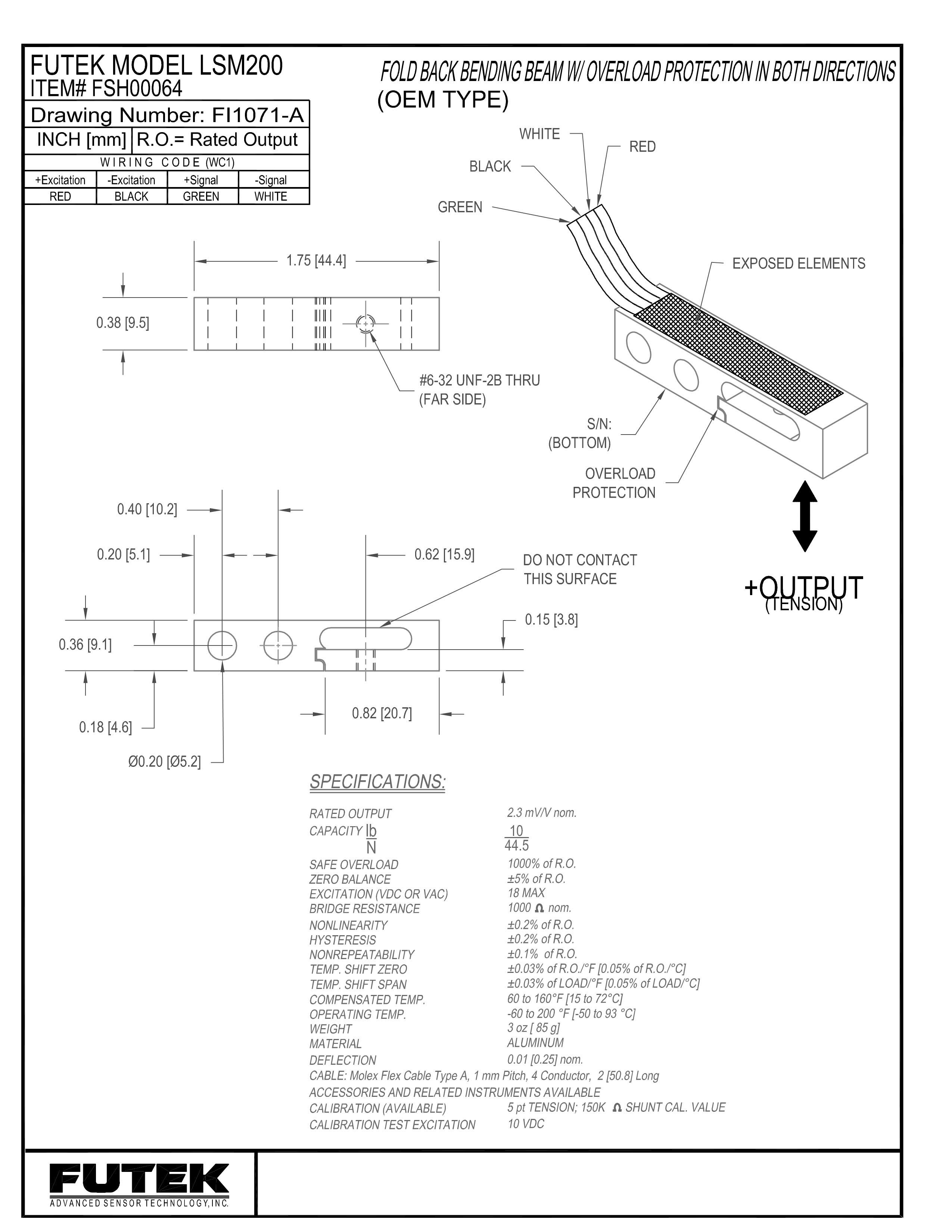 LSM200梁式测力传感器安装尺寸图说明书