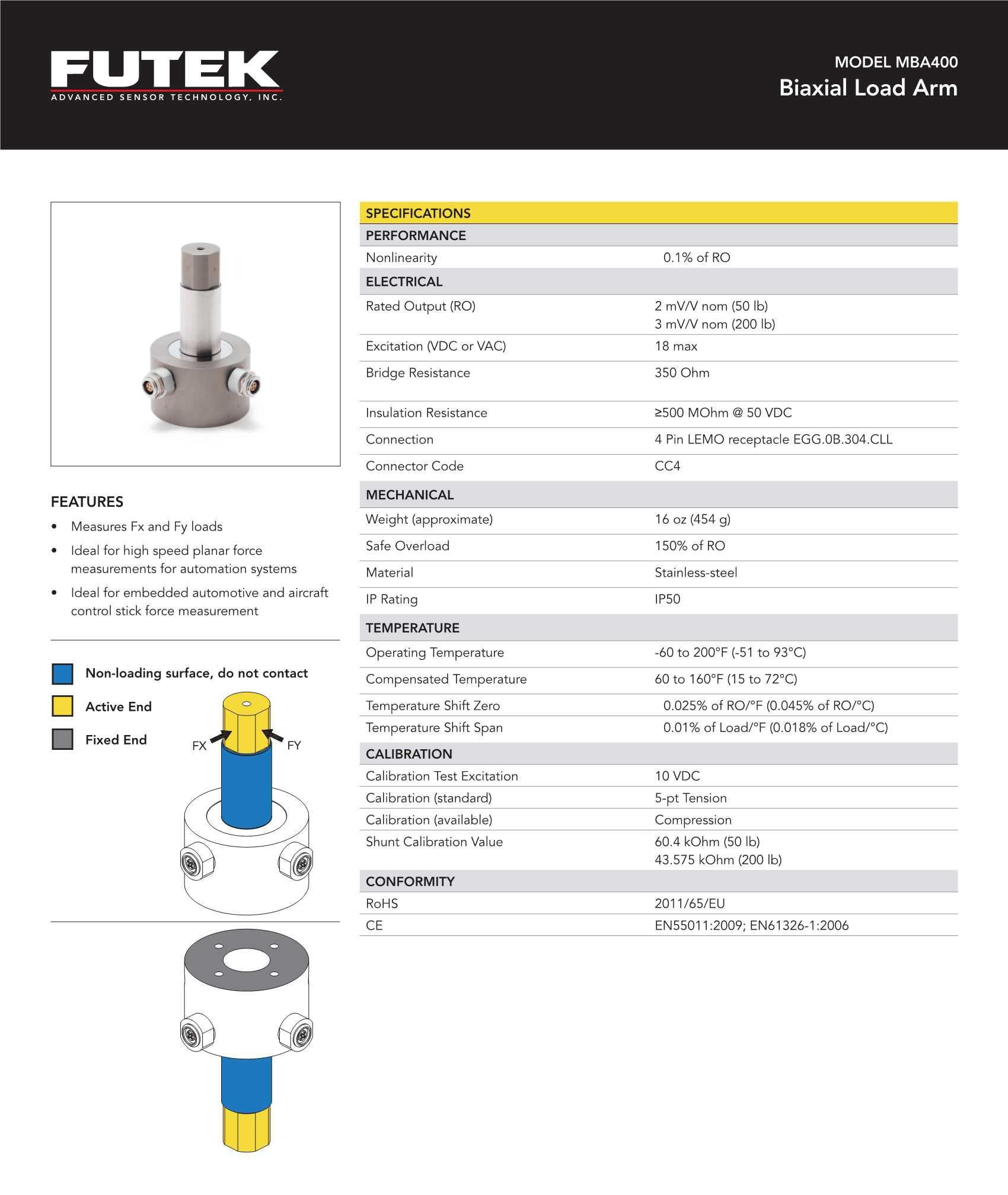 MBA400二轴力/二向力传感器 可同时测量Fx与Fy方向的力
