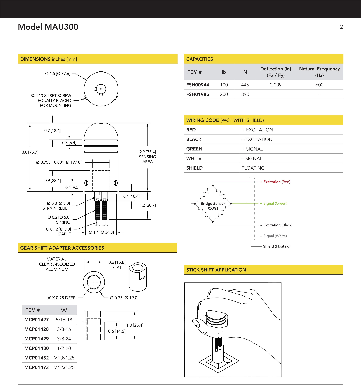 MAU300换档力传感器说明书