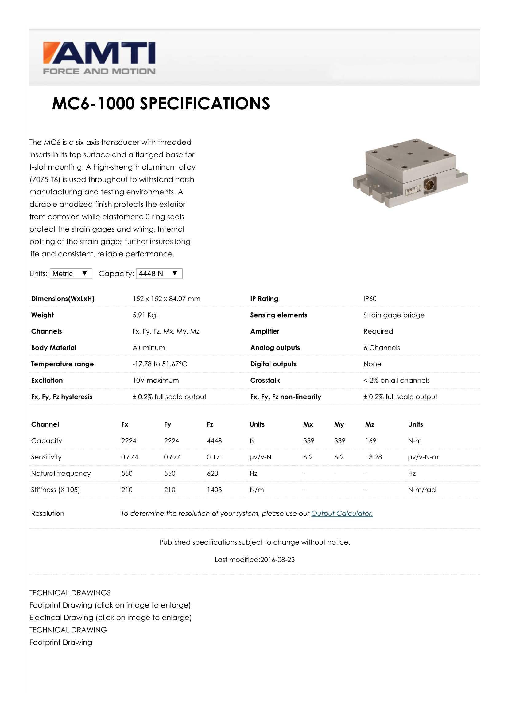 MC6六轴力传感器安装使用说明书