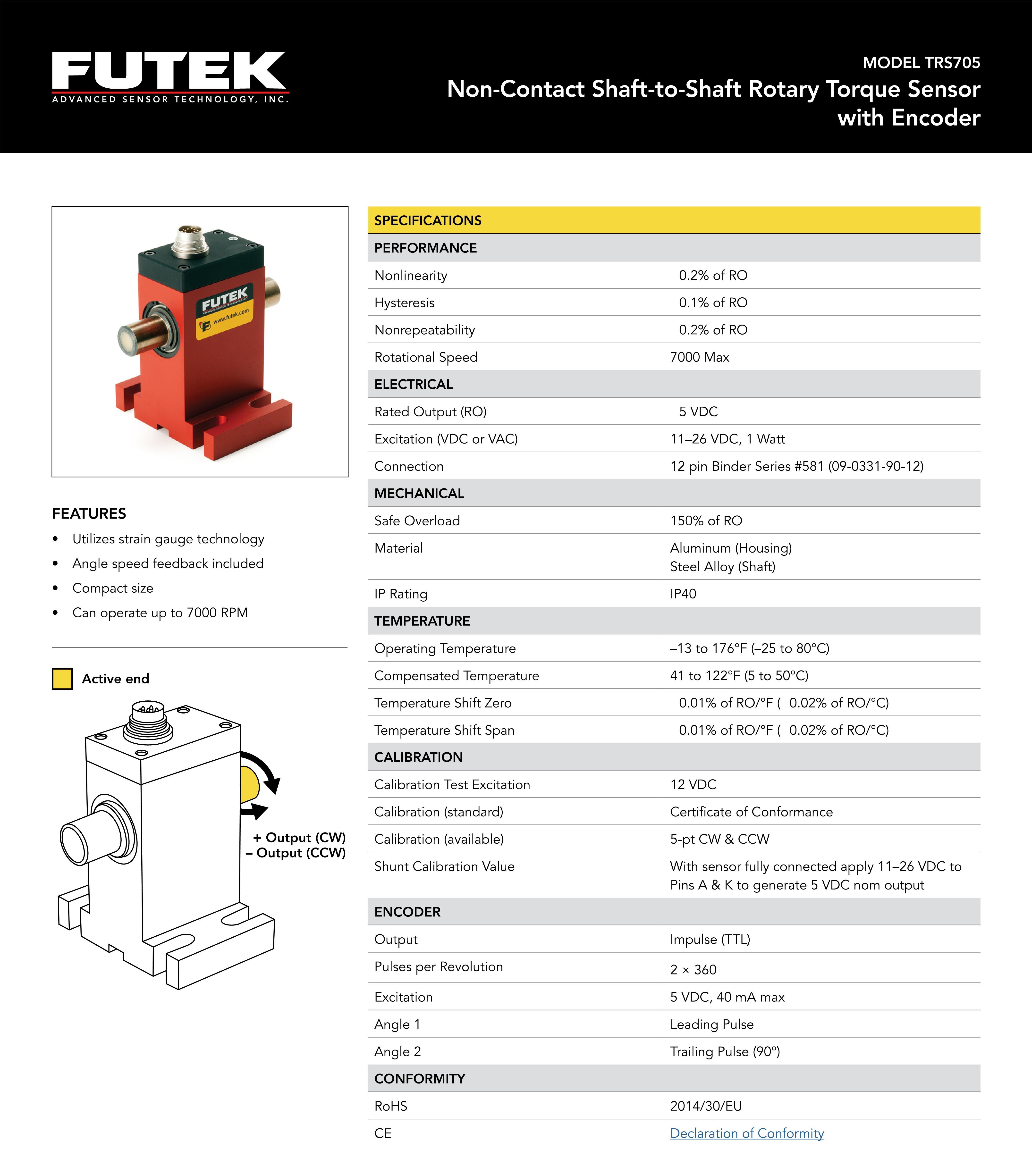 TRS705动态扭矩传感器旋转式非接触式美国FUTEK
