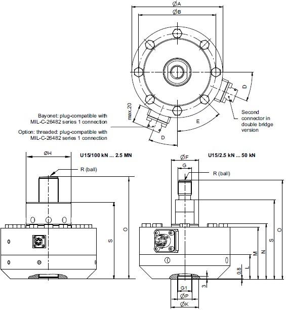 U15高精度力传感器: 力校准从2.5kN到2.5MN