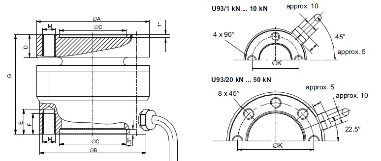 U93 Dimensions (in mm; 1 mm = 0.03937 inches)