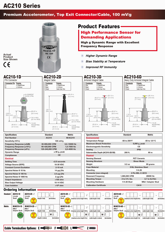 AC210-1D/2D/3D高精度振动加速度传感器美国CTC
