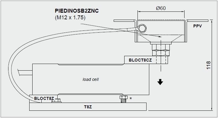 T8-AZL/AZS称重模块外形安装尺寸图