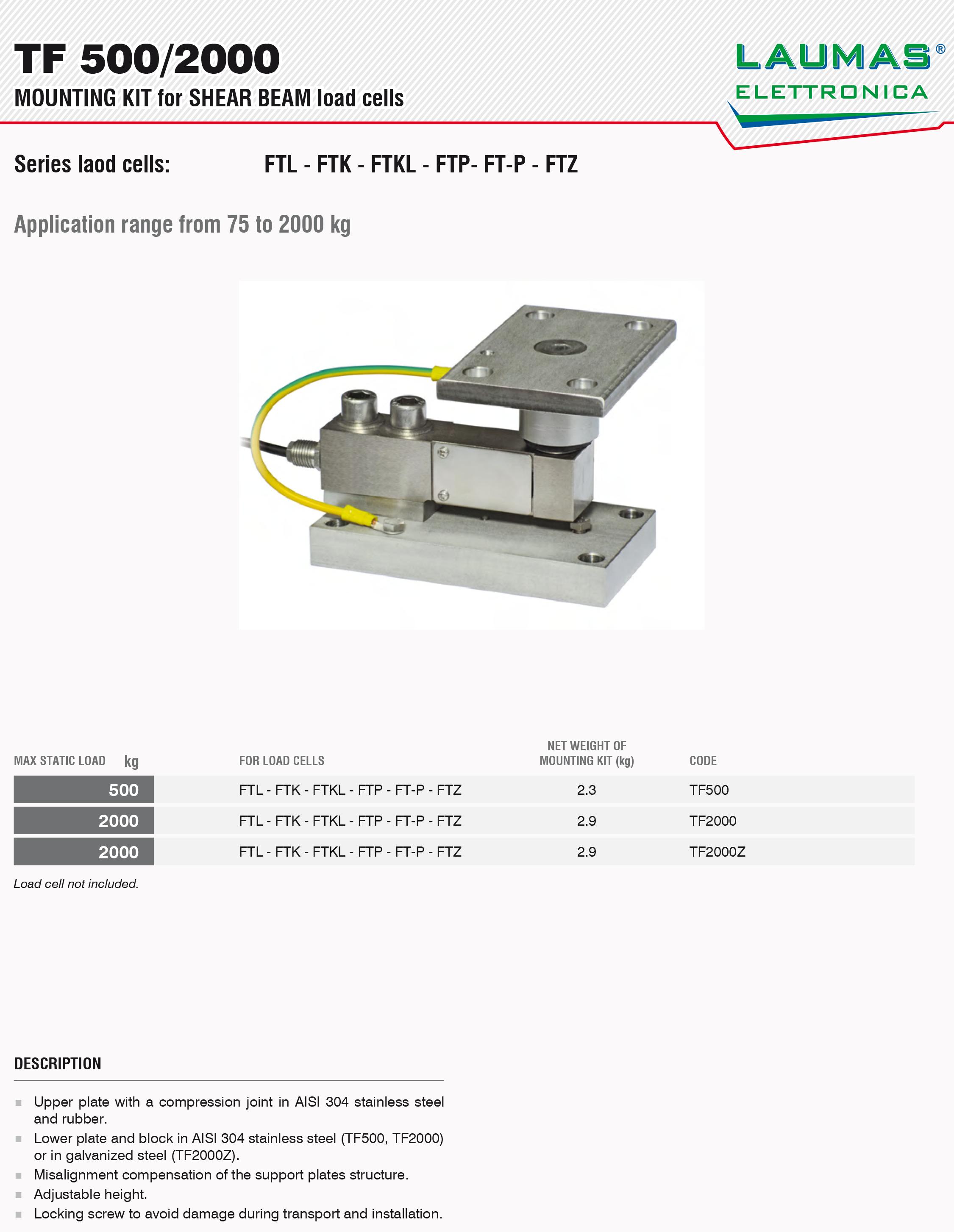 TF500称重模块_意大利laumas_TF 2000Z称重模块
